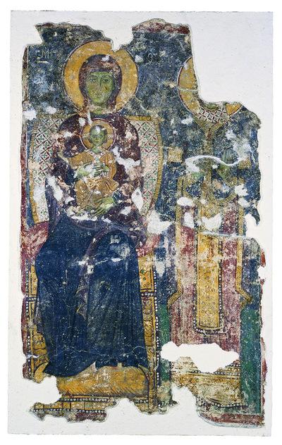 Μουσείο Ιεράς Μονής Κύκκου (Κύπρος): Απεικόνιση ένθρονης βρεφοκρατούσας Παναγίας με όρθια αδιάγνωστη αγία στα δεξιά. Αποτοιχισμένη τοιχογραφία από το ναό Αγίου Αντωνίου, Κελλιά, Λάρνακα. (E 812)
