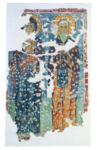 Μουσείο Ιεράς Μονής Κύκκου (Κύπρος): Απεικόνιση όρθιας βρεφοκρατούσας Παναγίας και όρθιου αδιάγνωστου αγίου στα δεξιά.  Αποτοιχισμένη τοιχογραφία από το ναό Αγίου Αντωνίου, Κελλιά, Λάρνακα. (E 811)