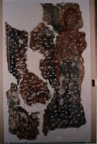 Μουσείο Ιεράς Μονής Κύκκου (Κύπρος): 'Αγιες Βαρβάρα και Μαρίνα. Αποτοιχισμένη τοιχογραφία από το ναό Αγίου Αντωνίου, Κελλιά, Λάρνακα. (E 810)