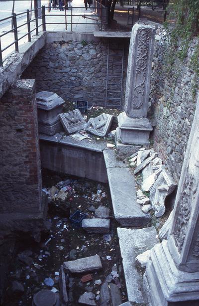 "Fountain southeast of Bey Hamam (baths ""Paradeisos""), at the junction of Egnatia street with Metropoliti Gennadiou  street, Thessaloniki, Greece"