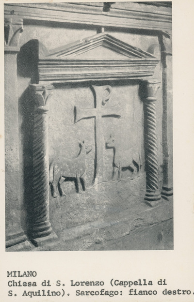 Milano. Chiesa di S. Lorenzo (Cappella di S. Aquilino). Sarcofago: fianco destro