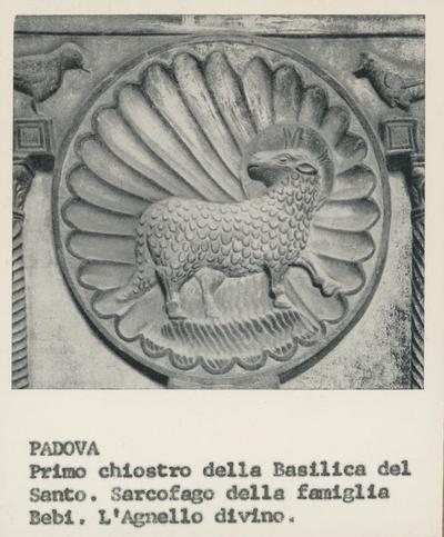 Padova, primo chiostro della Basilica del Santo. Sarcofago della famiglia Bebi. L'agnello divino
