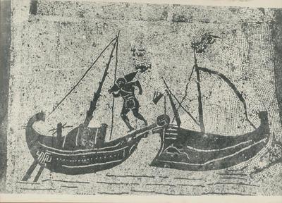 Ostia: Foro delle Corporazioni, statio n. 25 del portico anteriore. Mosaico rappresentante uno scarico di anfore fra due navi