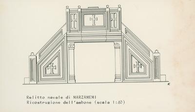 Relitto navale di Marzamemi, ricostruzione dell'ambone (scala 1:40)