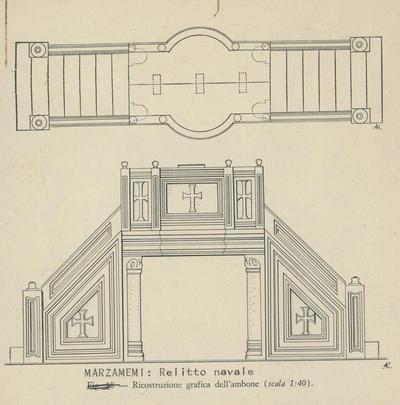 Marzamemi: relitto navale, ricostruzione grafica dell'ambone (scala 1:40)