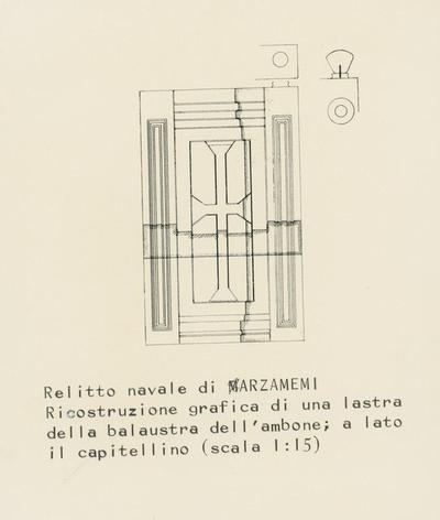Relitto navale di Marzamemi. Ricostruzione grafica di una lastra della balaustra dell'ambone; a lato il capitellino (scala 1:15)