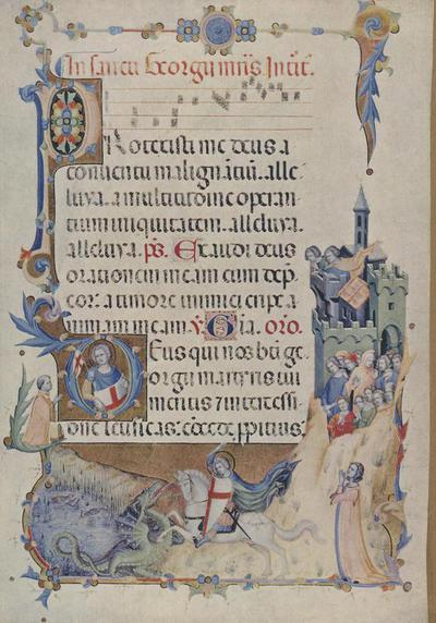 Roma- Biblioteca Vaticana, Maestro del Codice di S. Giorgio- S. Giorgio libera la Principessa ( circa 1340)