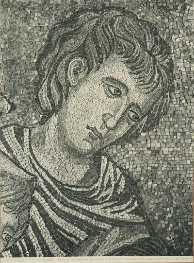 (Ed.ne Alinari) No 17243 a. Firenze - Battistero. Un assistente alla nascita di S. Giovanni, particolare del mosaico della cupola (XIII secolo)