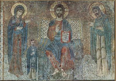 Badia Greca di Grottaferrata. La Basilica (Preghiera) -  Mosaico del sec. XI -.