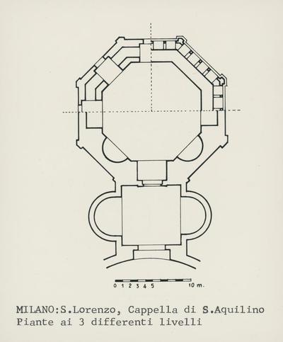 Milano: S. Lorenzo, Cappella di S. Aquilino. Piante ai 3 differenti livelli
