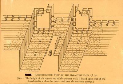 Reconstructed view of the Byzantine Gate (B 2) (Note: the height of the Towers and the parapet walk is based upon the height of the barrel-vaults within the Towers and over the entrance passage)