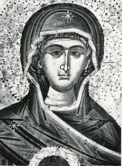 Bucarest: Museo d'Arte, Icona con la Vergine e il bimbo. Particolare (sec. XVII, Valacchia)