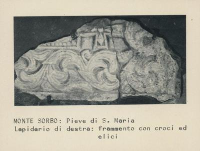 Monte Sorbo: Pieve di S. Maria, lapidario di destra: frammento con croci e elici