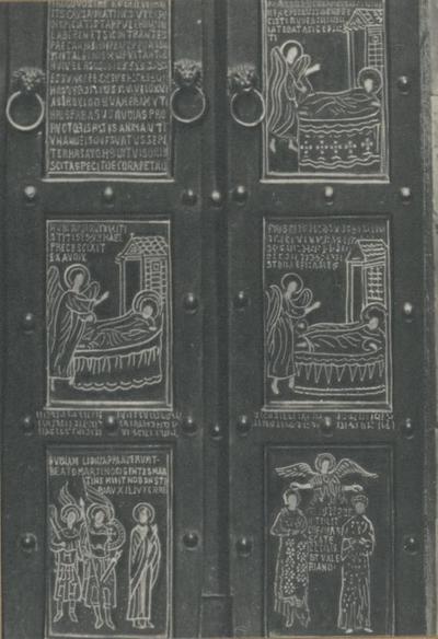 Monte S. Angelo (Foggia). Basilica Santuario S. Michele. Porte bizantine (1076), ultimi sei pannelli (a destra)