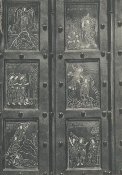 Monte S. Angelo (Foggia). Basilica Santuario S. Michele. Porte bizantine (1076), primi sei pannelli (a sinsitra)