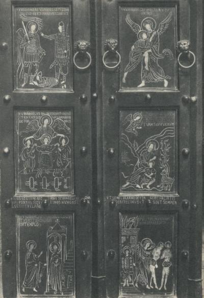 Monte S. Angelo (Foggia). Basilica Santuario S. Michele. Porte bizantine (1076), ultimi sei pannelli (a sinistra)