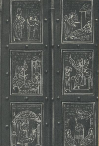 Monte S. Angelo (Foggia). Basilica Santuario S. Michele. Porte bizantine (1076), primi sei pannelli (a destra)