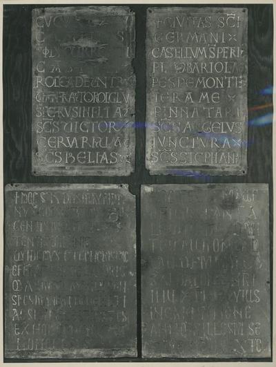 Montecassino. Porta di Desiderio. Pannelli con l'elenco dei possedimenti della dinastia di Gisulfo e con la dedica di Mauro di Pantaleone