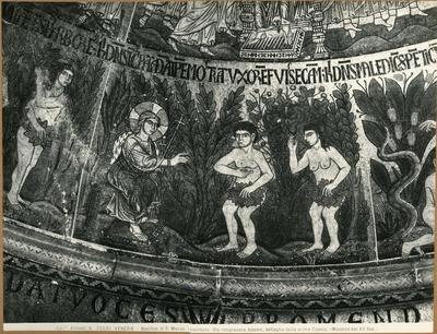 Venezia. Basilica di S. Marco (vestibolo). Dio rimprovera Adamo, dettaglio della prima cupola (mosaico del XII secolo)