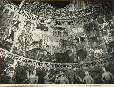 Venezia. Basilica di S. Marco (vestibolo). La creazione degli animali, dettaglio della prima cupola (mosaico del XII sec.)