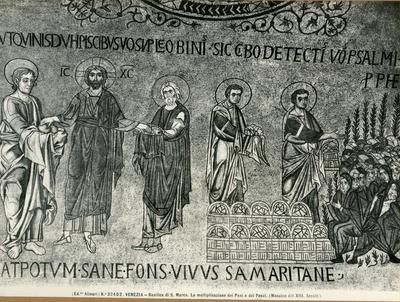 Venezia. Basilica di S. Marco . La moltiplicazione dei Pani e dei Pesci (Mosaico del XIII sec.)