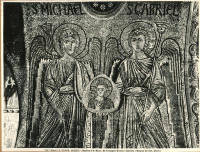 Venezia. Basilica di S. Marco. Gli Arcangeli Michele e Gabriele (Mosaico del XIII secolo)