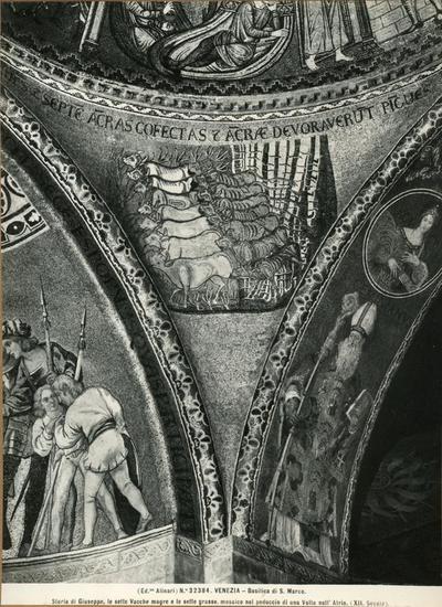 Venezia. Basilica di S. Marco. Storia di Giuseppe, le sette Vacche magre e le sette grasse, mosaico nel peduccio di una volta dell'Atrio (XII secolo)