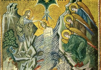 Venezia. Basilica di S. Marco. Il Battesimo (Mosaico del sec. XIII)