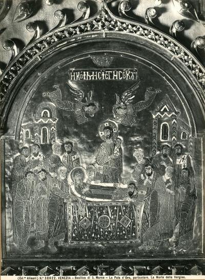 Venezia. Basilica di S. Marco. La Pala d'Oro, particolare. La morte della Vergine