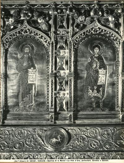 Venezia. Basilica di S. Marco. La Pala d'Oro, particolare.  Geremia e Daniele