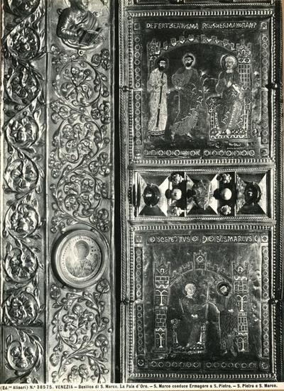 Venezia. Basilica di S. Marco. La Pala d'Oro. S. Marco conduce Ermagore a S. Pietro