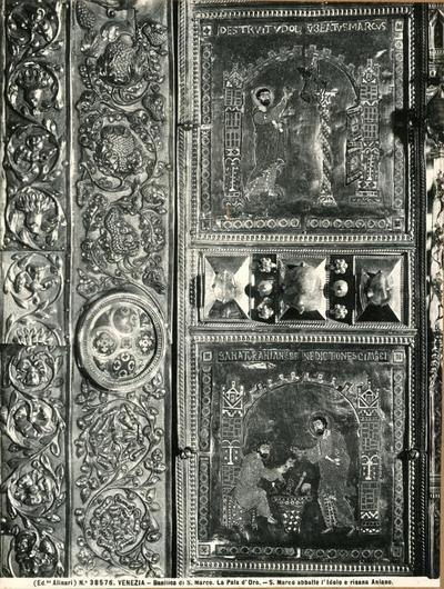 Venezia. Basilica di S. Marco. La Pala d'Oro. S. Marco abbatte l'idolo e risana Aniano