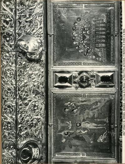 Venezia. Basilica di S. Marco. La Pala d'Oro, particolare. Il Battesimo di Cristo e la Cena
