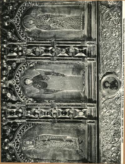 Venezia. Basilica di S. Marco. La Pala d'Oro, particolare. la Madonna tra Ordelafo Faliero e l'imperatrice Irene