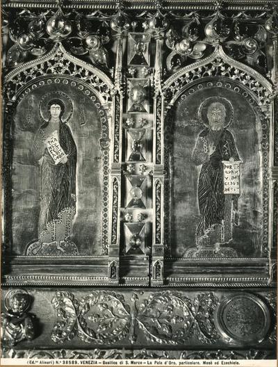 Venezia. Basilica di S. Marco. La Pala d'Oro, particolare . Mosè ed Ezechiele