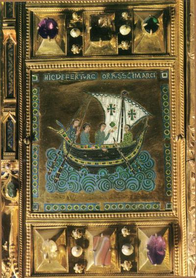 Venezia. Basilica di S. Marco. Pala d'Oro. Smalto riproducente il trasporto della reliquia di S. Marco (sec. XII)