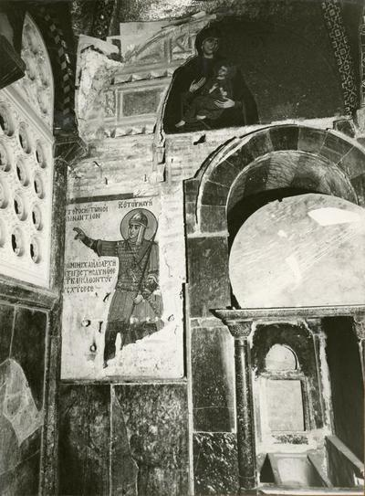 S. Luca (Grecia) Muro esterno ovest (angolo SO) della Panagia cher penetra nella chiesa posteriore del del katholikon