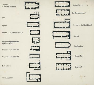 Zovuni- S. Polos Petros; Ani; Agrak; Senik- S. Amenaprkic; Astuacinkal; K'asal (piccola); T'alin (piccola); Hobarc'i; Gyulagrak; Lernakert; Hovhannavank'; Dvin- S. Yiztibuzt; Garni; Jakjaris; Sverdlov; Pasvack