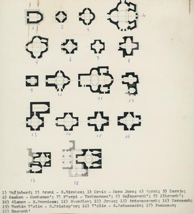 1) Vojaberd 2) Arzni- S. Kirakos 3) Crviz- Moro Joro 4) Agrak 5) Zernj 6) Osakan- Mankanoc' 7) P'arpi- Tarkmancac' 8) Soagavank 9)Ilkanavik 10) Alaman- S. Ananias 11) Sverdlov 12) Jrvez 13) Artavazavank 14)Karasamb 15) Merkin T'alin- S. Xristap'or 16) T'alin- S. Astuacacin 17 Pemzasen 18) Hnevank