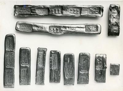 Budapest. Museo Nazionale. Lingotti d'oro ritrovati vicino alla Transilvania con marchi della zecca di Sirmium