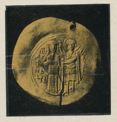 Sofia- Museo archeologico.Moneta d'oro dell'epoca dello zar Ivan Assen II (XIII sec.)