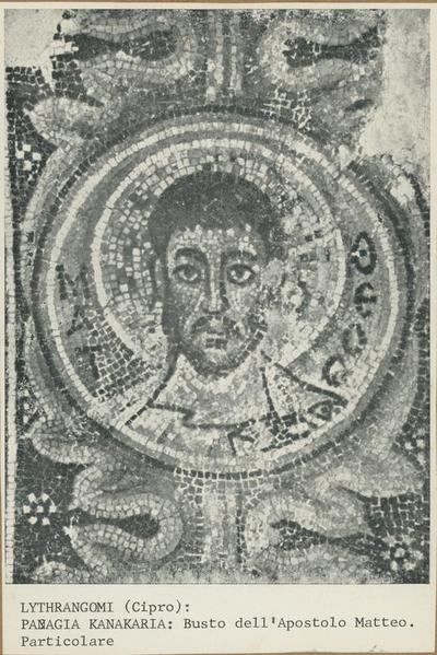 Lythrangomi (Cipro). Panagia Kanakaria: Busto dell'apostolo Matteo. Particolare