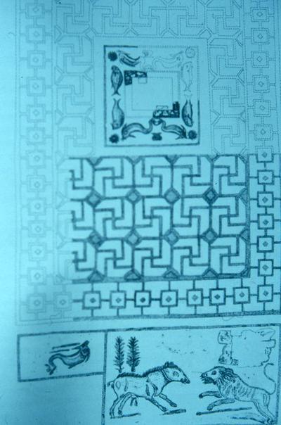 Drawing of the mosaics from Casa Basile, Via Nitti, Taranto, Italy