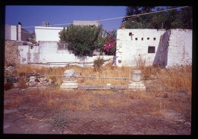Crete, Gortys, Triconch of Mitropolis, architectural elements: marble threshold and two column bases (with capitals)