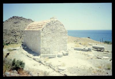 Church of Ayios Ioannis built on the site of the former Early Byzantine basilica, Lentas-ancient Lebena, Crete, Greece, 1992