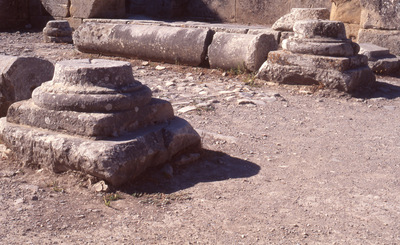 Crete, Gortys, Basilica of St. Titus, bases of columns, at the main entrance