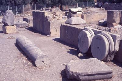 Crete, Gortys, Basilica of St. Titus, tribelon, bases of columns and a fragmentary column