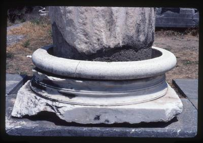 Greece, Kos, archaeological area of the harbour and the agora: detail of a marble column base at the harbour basilica
