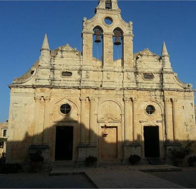 Moni Arkadiou, facade of the church