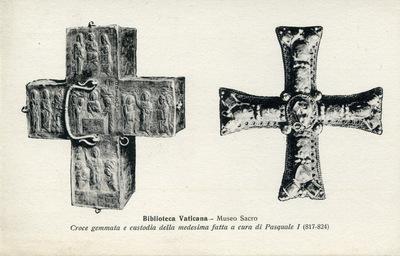 Biblioteca Vaticana - Museo Sacro Croce gemmata e custodia della medesima fatta a cura di Pasquale I (817-824)